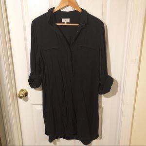 Lou & Grey Black popover Collared Dress